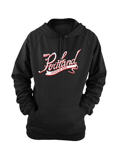 Black Pullover Hoodie with Cursive graphic in the center reading Portland large and on a banner below State Of Mind. In Red and White Ink.