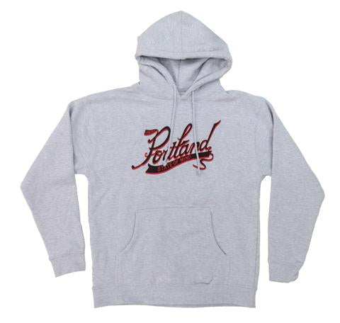 Grey Pullover Hoodie with Cursive graphic in the center reading Portland large and on a banner below State Of Mind. In Red and Black Ink.