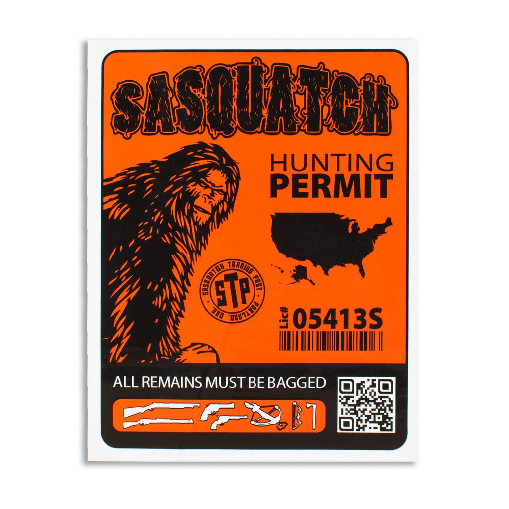 Orange and black rectangle sticker in the style of a hunting permit, but for sasquatch.