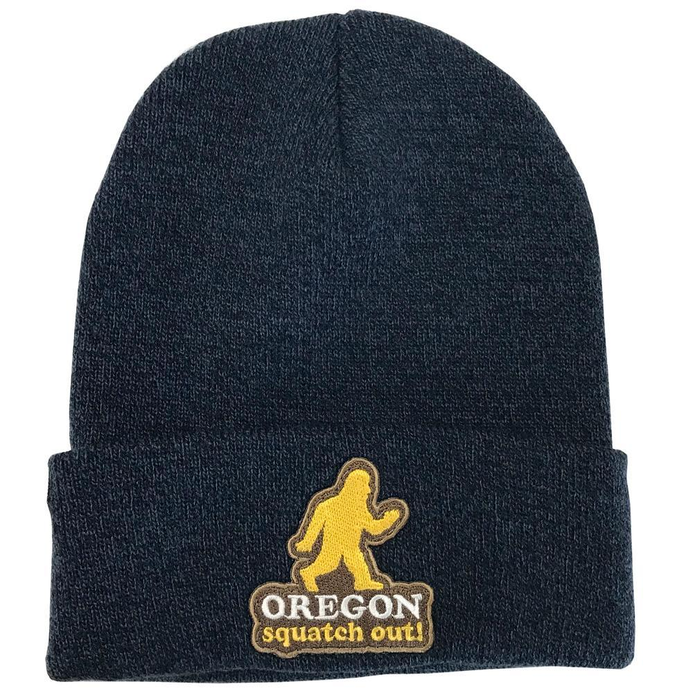 Navy Cuffed Beanie with Patch of Sasquatch running reads Oregon Squatch Out below.