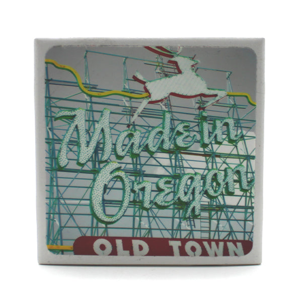 Drink Coaster featuring Portland's famous Old Town Stag Sign.