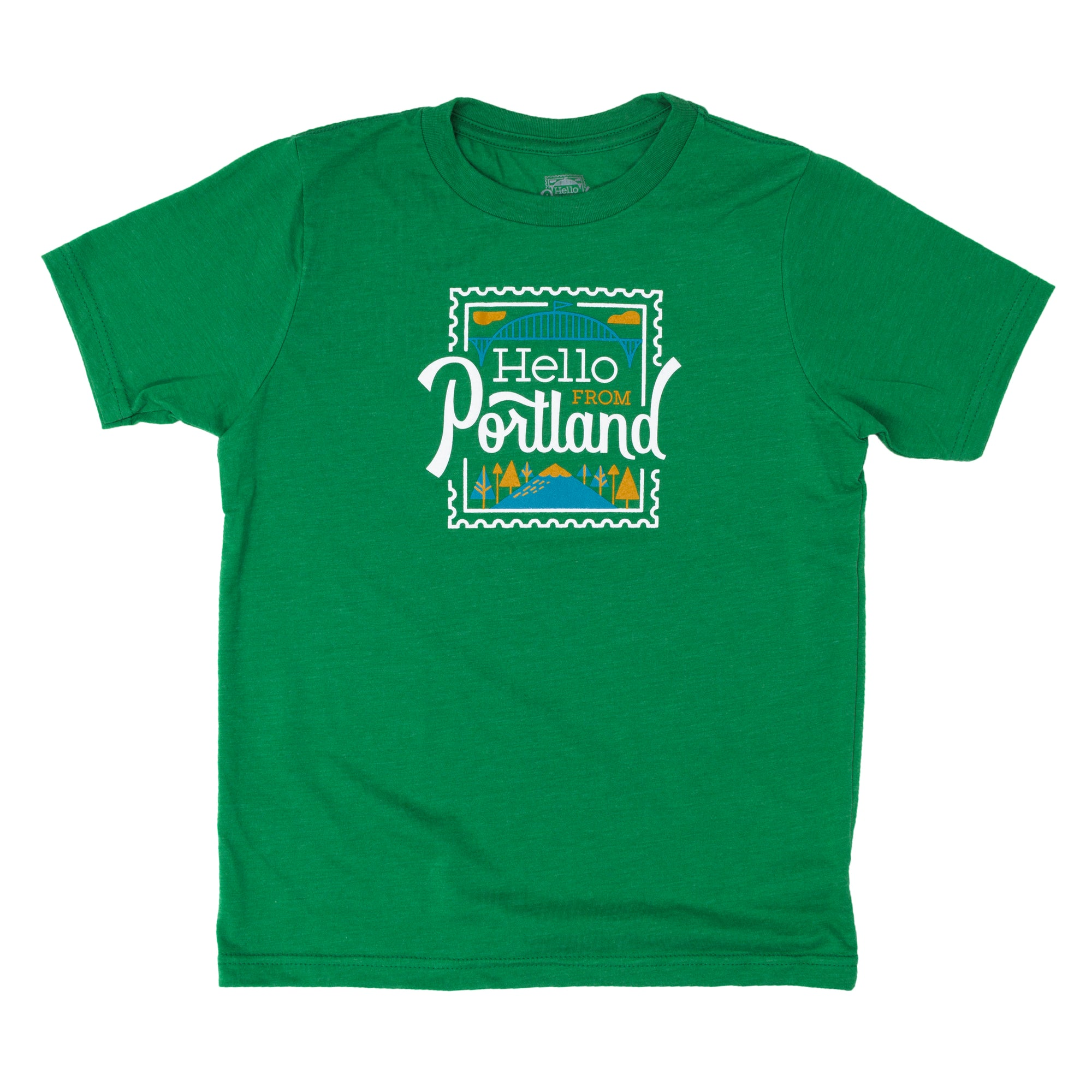 Kid's Green T-shirt with Hello From Portland Stamp Graphic.