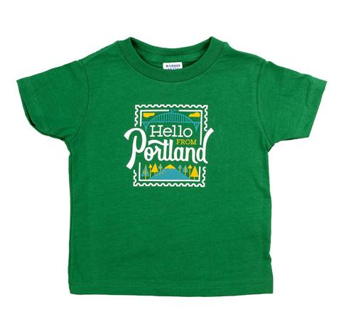 Hello Stamp Kids Tee, Green