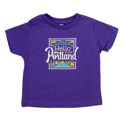 Green Toddler's T-shirt with Hello From Portland Stamp logo.