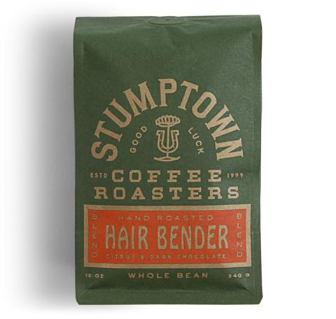14 ounce bag of Hair Bender organic coffee with citrus and dark chocolate.