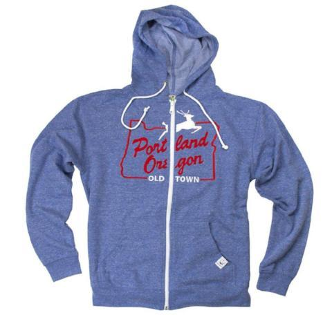 Light blue zip up hoodie with Old Town White Stag graphic in the center in red and white.
