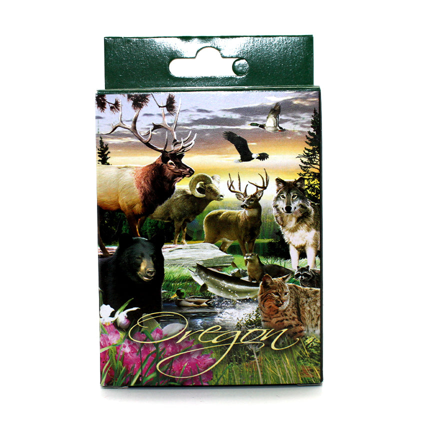 Full deck of cards depicting the wildlife of oregon.