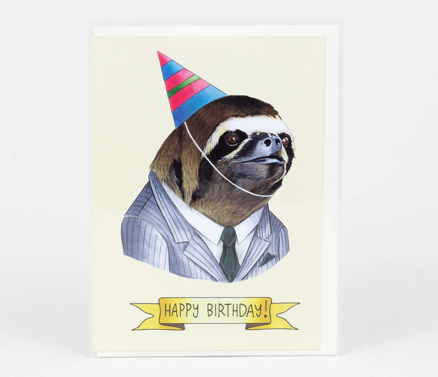 "Happy Birthday Card with the headshot of a sloth with a suit on. He is wearing a party hat and underneath in a banner it reads ""Happy Birthday""."