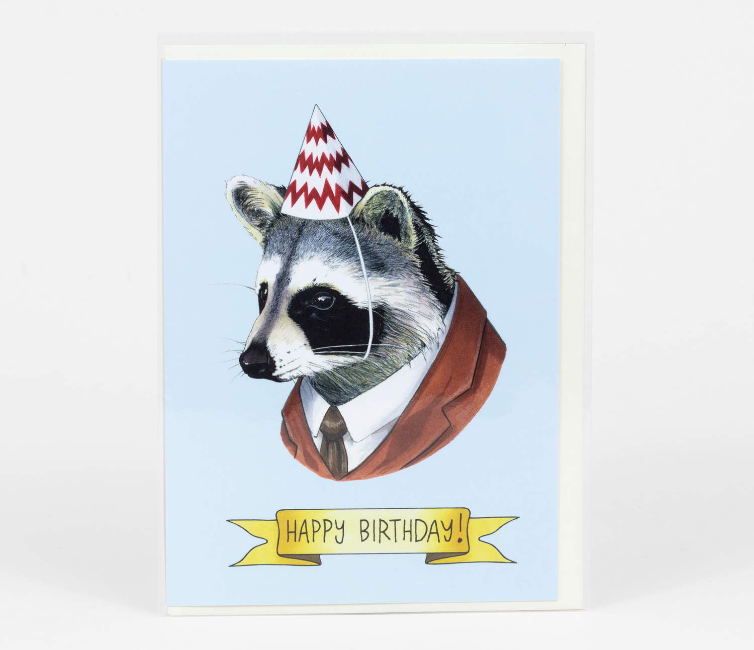 "Happy Birthday Card with the headshot of a raccoon with a suit on. He is wearing a party hat and underneath in a banner it reads ""Happy Birthday""."