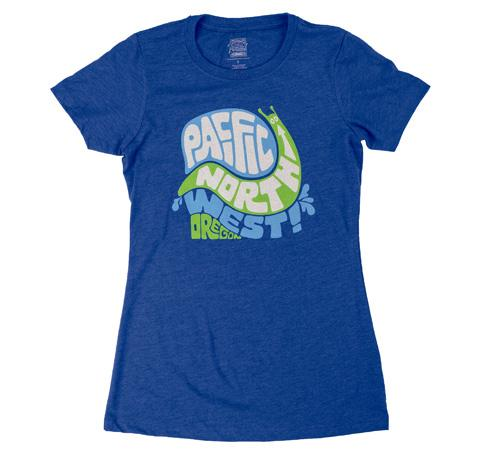 Women's bright blue T-shirt Reads Pacific North West Oregon inside twisting funky shapes creating a snail.