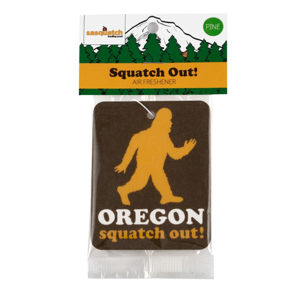 "Brown air freshener with a silhouette of sasquatch. Below it reads ""Oregon Squatch Out!"""