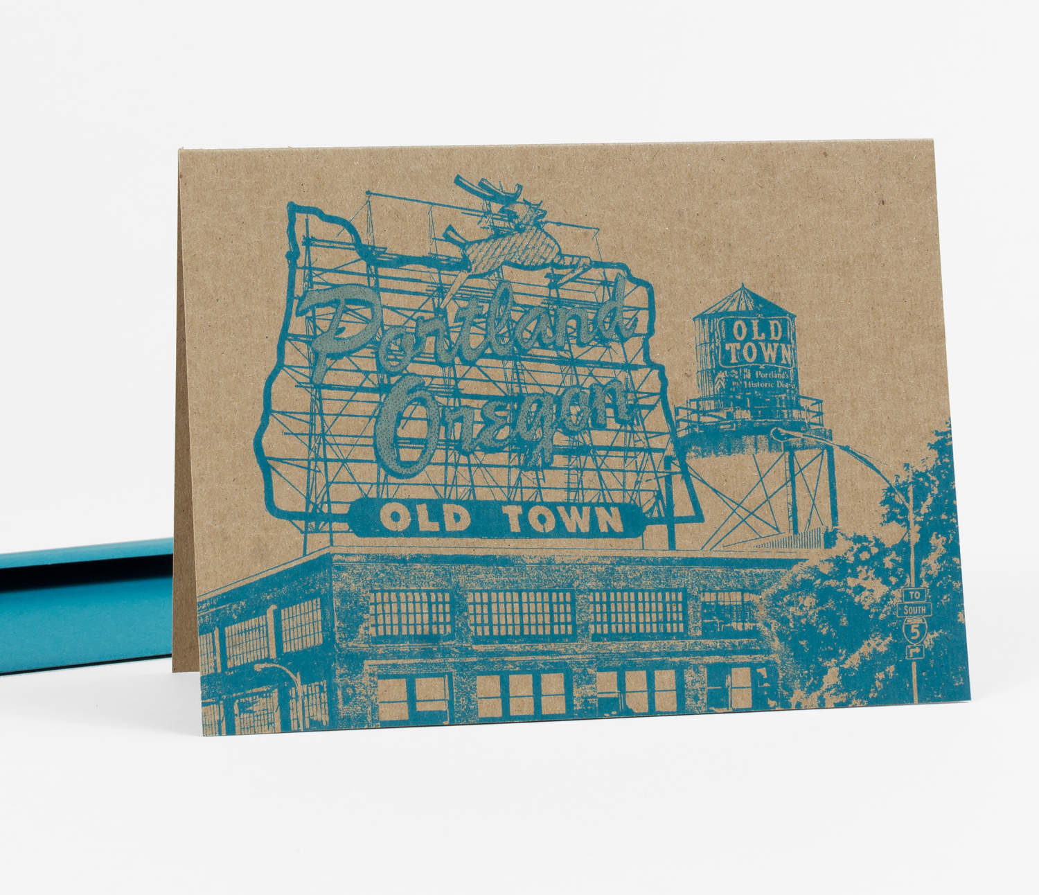 Greeting card depicting the White Stag Old Town sign.