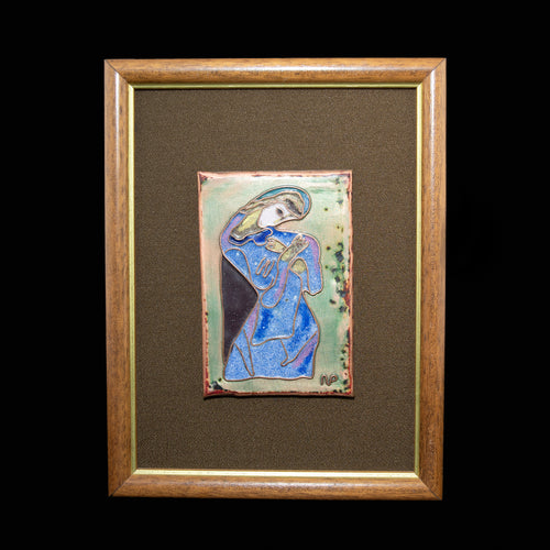 Blue Madonna - Torch Enameled, Framed Image