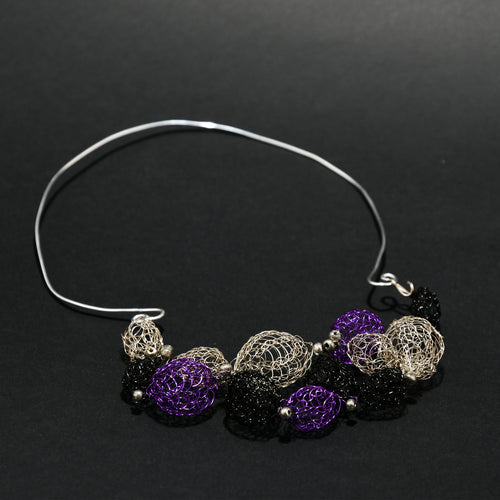 Wire Necklace with Wire crochet ornaments