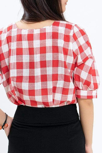 Checkered Lady Puff Sleeve Blouse 13.90