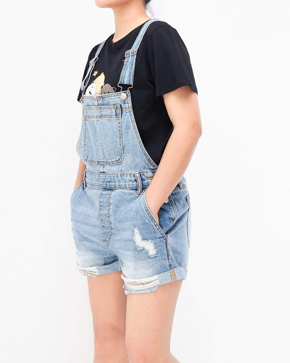 Distressed Lady Denim Overall Shorts 14.50