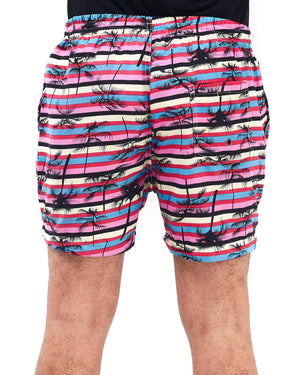 Elastic Stripe Print Men Swim Short 12.90