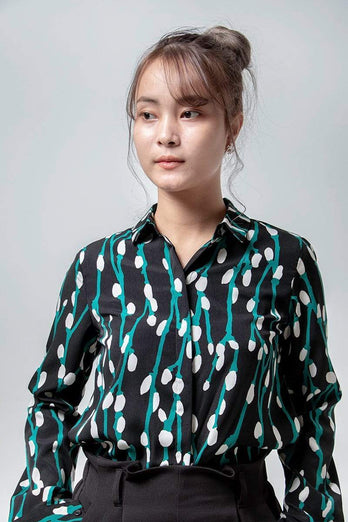 Floral Pattern Lady Long Sleeve Shirt 15.90