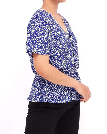 Front Button Lady Floral Top 13.50