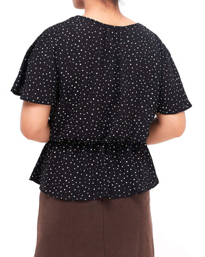 Front Button Lady Dots Top 13.90