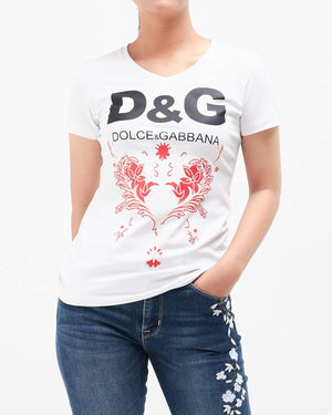 Logo Printed Lady Slim Fit T-Shirt 13.50