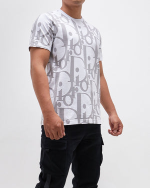Men Big Monogram Over Print  T-Shirt 15.90