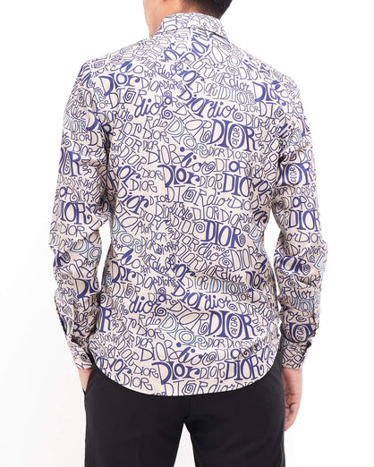Men's Shirt Long Sleeve Over Logo Print 25.90