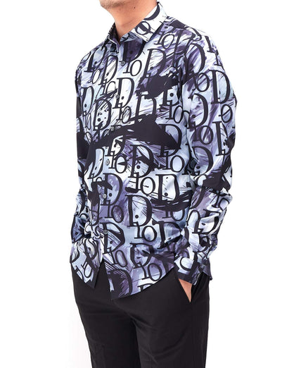 Men's Shirt Long Sleeve Over Logo Print Ink 25.90