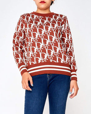 Monogram Logo All Over Print Lady Sweater 26.90