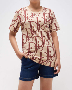 Monogram Over Print Lady Short Sleeves T-Shirt 14.90