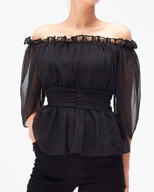 Off Shoulder Lady Mesh Blouses 15.90