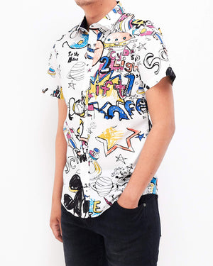 Over Print Cartoon Men Short Sleeve Shirt 23.90