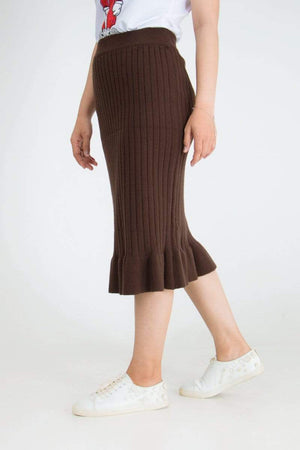 Striped Texture Lady Ruffle Long Skirt 14.90