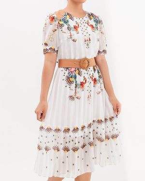 Waist Belted Lady Floral Dress 25.90