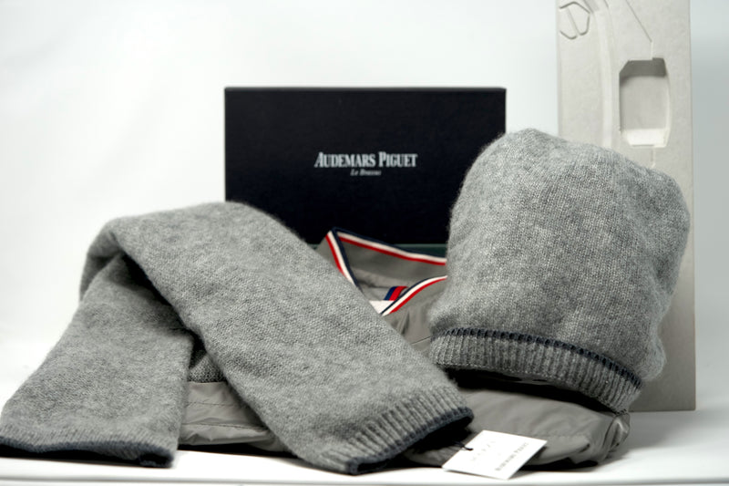 Grey Pure Cashmere Scarf and Matching Hat by Audemars Piguet Authentic Luxury Goods