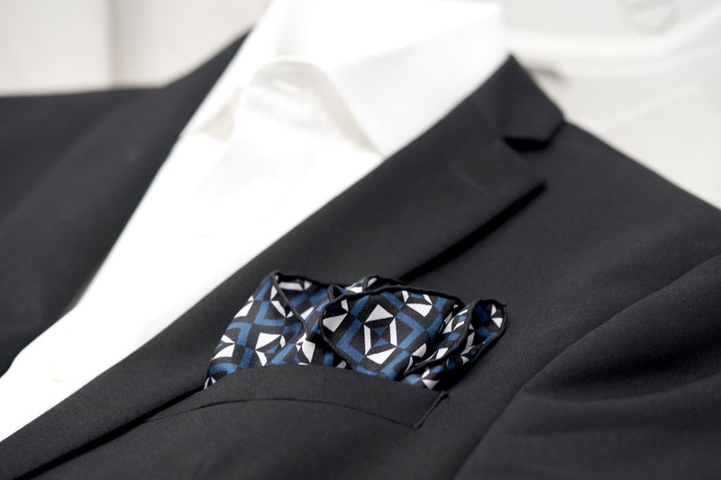 Audemars Piguet Silk Pocket Square Blue Black White