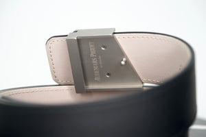 Luxury Audemars Piguet Royal Oak Belt Black Leather Silver Buckle