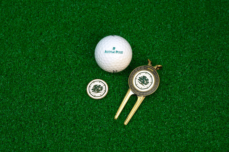 For Sale Audemars Piguet Golf Titleist 2 Ball and Gold Divot Tool with Custom Audemars Piguet Ball Marker