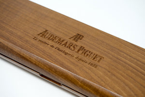 HandMade Audemars Piguet Engraved Wooden Display Box with Custom Golden Putter for AP Watch Collectors