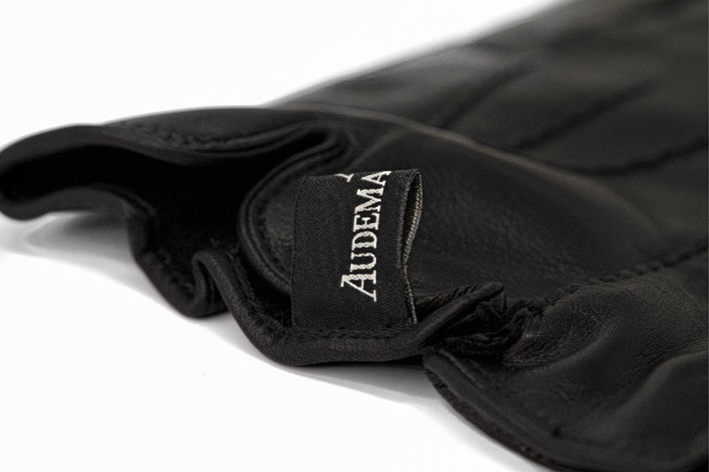 Black Leather Luxury Gloves Lined with Cashmere By Audemars Piguet Available at Time Traders