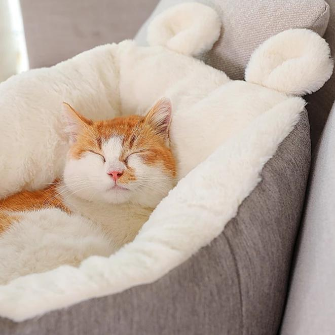 Comfortable cosy cat or small dog bed-Sleeping-Alfy & Co-Gray with ears-S-Alfy & Co