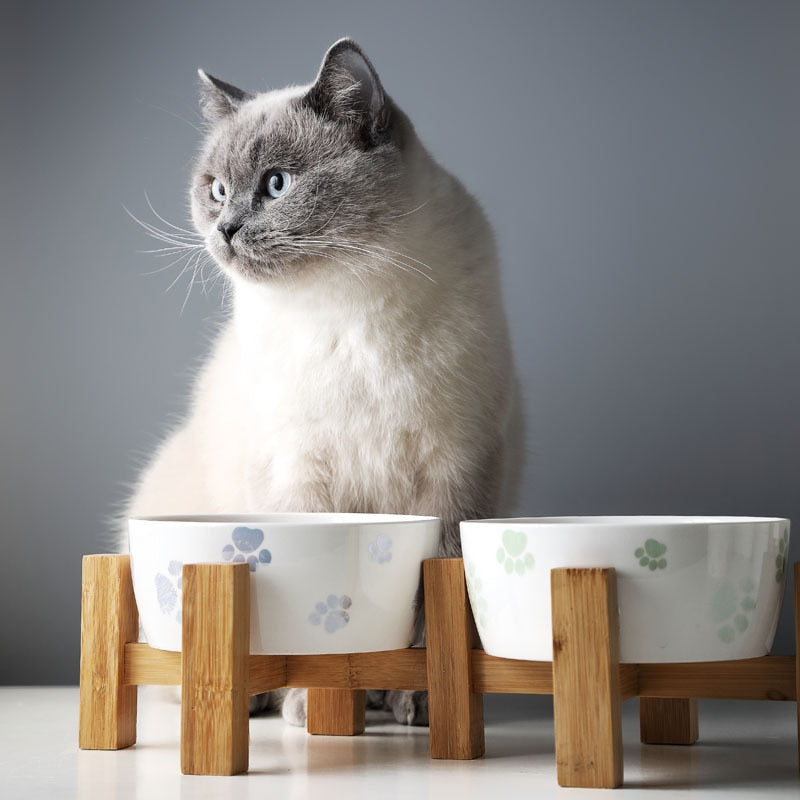 Ceramic pet feeder on solid wooden frame-Dining-Alfy & Co-Alfy & Co