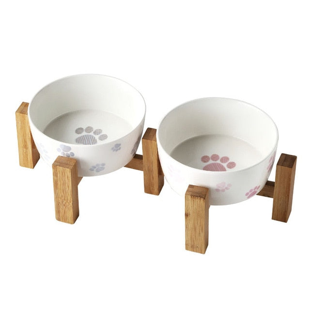 Ceramic pet feeder on solid wooden frame-Dining-Alfy & Co-double bowl-S-Alfy & Co