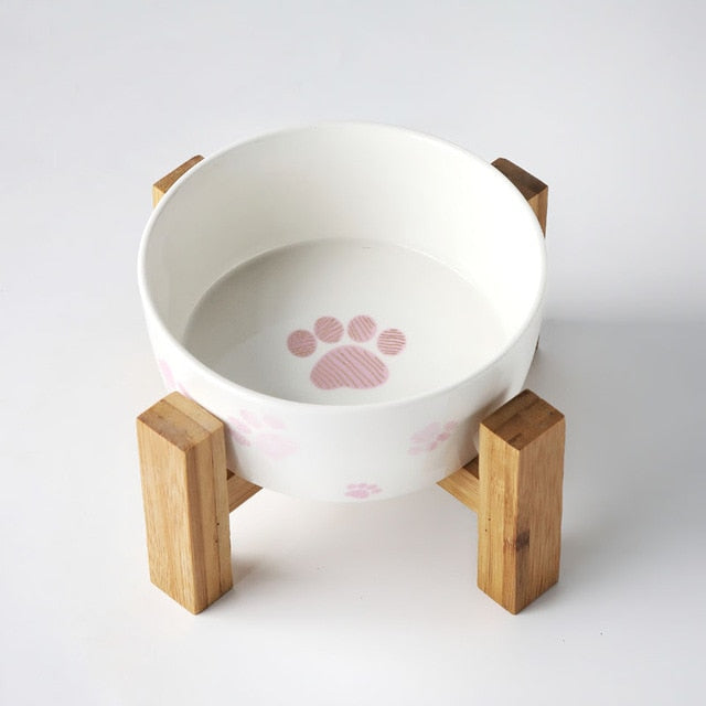 Ceramic pet feeder on solid wooden frame-Dining-Alfy & Co-single bowl-S-Alfy & Co