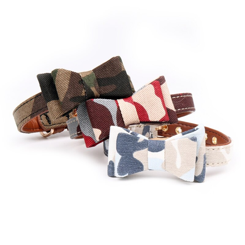 Adjustable camouflage cat collar with bow-Beauty-Alfy & Co-Alfy & Co