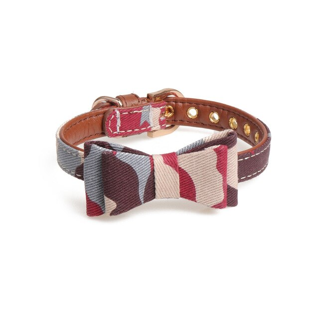Adjustable camouflage cat collar with bow-Beauty-Alfy & Co-Red-S-Alfy & Co