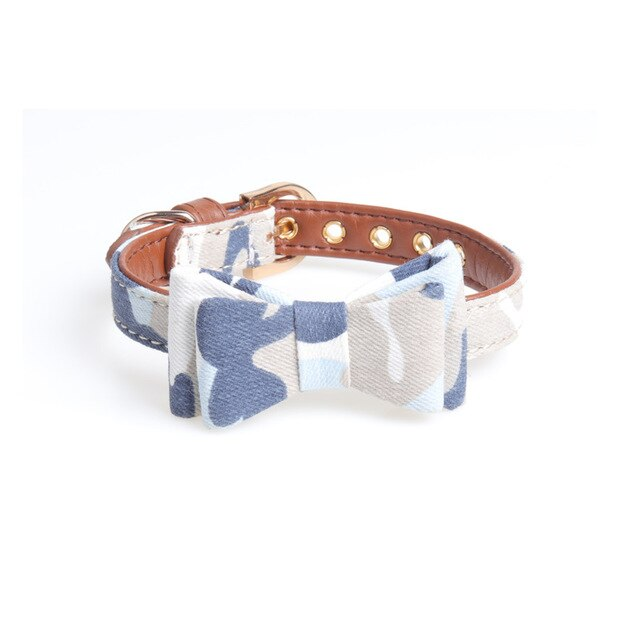Adjustable camouflage cat collar with bow-Beauty-Alfy & Co-Blue-S-Alfy & Co