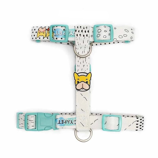 French bulldog harness with or without leash-Outdoor-Alfy & Co-Light Blue - White-M-Alfy & Co