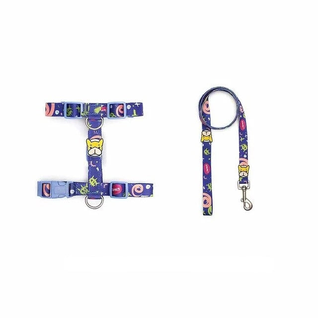 French bulldog harness with or without leash-Outdoor-Alfy & Co-Dark Blue/with leash-S-Alfy & Co