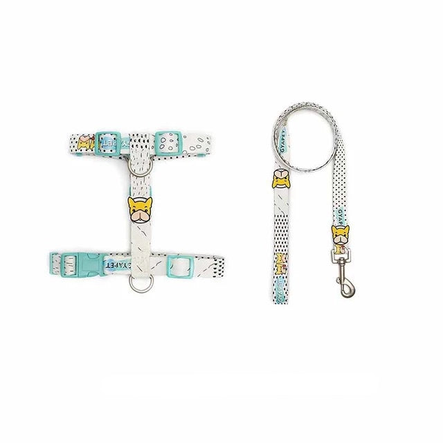 French bulldog harness with or without leash-Outdoor-Alfy & Co-Light Blue - White/with leash-S-Alfy & Co